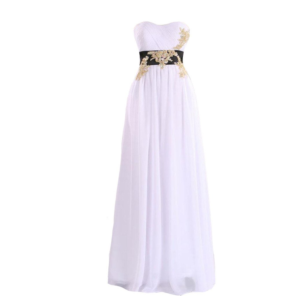 Kivary White Long A Line Formal Prom Evening Dresses with Black Sash Gold Beading US 18W