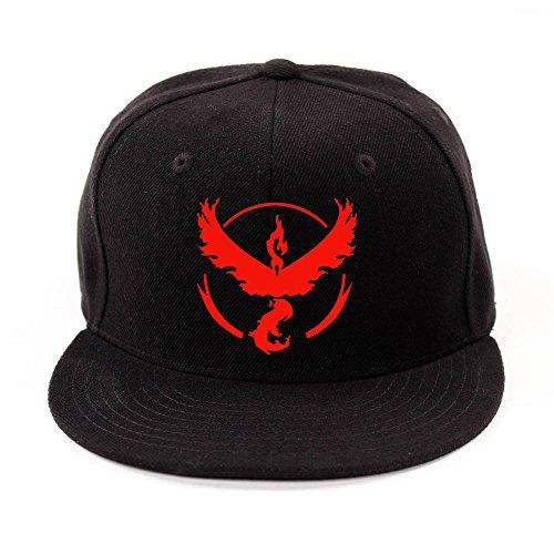 Pokemon Go Team INSTINCT VALOR MYSTIC Team YELLOW RED BLUE hat baseball hat (Red)