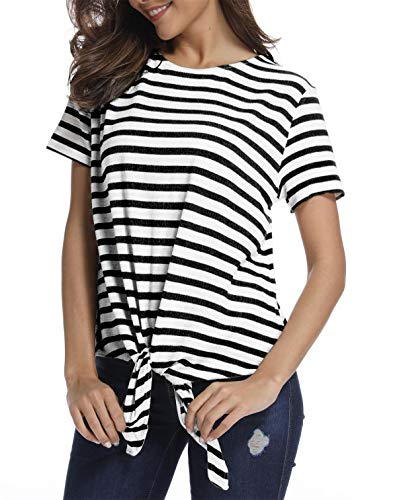(SINRGAN Women's Short Sleeve Tie Front Knot Striped Casual Loose Fit Tee T-Shirt, Black, Medium)