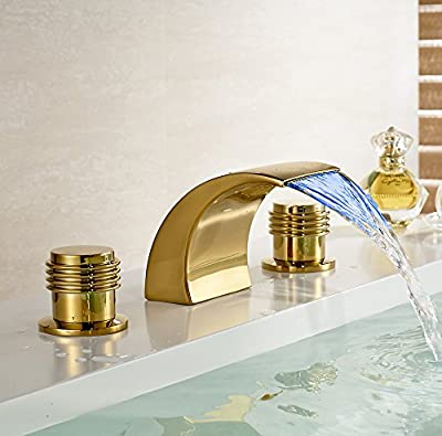 Tyrants FaucetKitchen faucet Bathroom faucetWaterfall 3 Holes Basin Faucet Gold Finish Sink Mixer Tap with LED Light