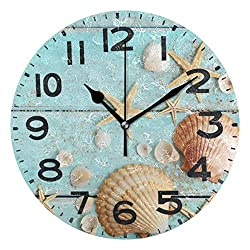Dozili 3D Beautiful Summer Starfish Sea Shell in Wood Background Round Wall Clock Arabic Numerals Design Non Ticking Wall Clock Large for Bedrooms,Living Room,Bathroom