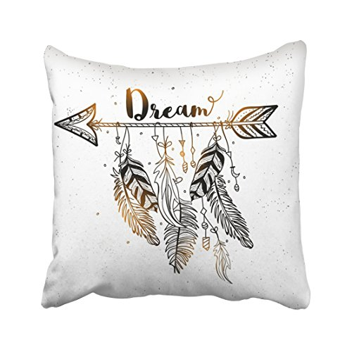 Accrocn Throw Pillow Covers Beautiful Dream Arrow Feachers Boho Gold Black Pillowcases Polyester 18 x 18 Inch Square With Hidden Zipper Home Sofa Cushion Decorative Pillowcase