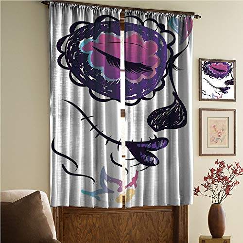 Bedroom/Living Room/Kids/Youth Room Curtain Panels, 2 Panel,Girl Face with Make Up Hand Drawn Mexican Art 108Wx90L -