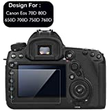 Taslar Tempered Glass Screen Guard Protector for Canon EOS 70D 80D 650D 700D 750D 760D (Transparent)