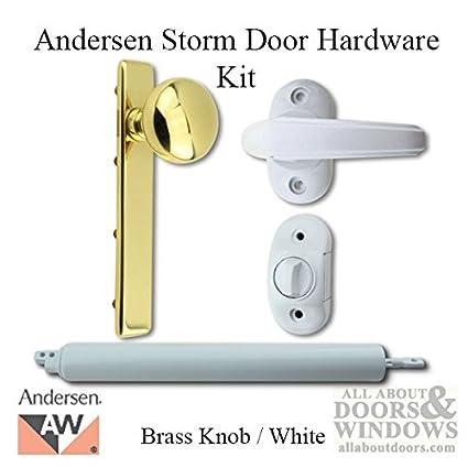Andersen/Emco Storm Door Hardware Kit   Brass Knob Exterior, White Interior
