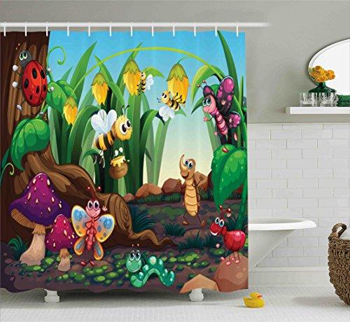 Ambesonne Animal Decor Shower Curtain, Ladybug Butterfly Bee in Exotic Garden Botany Cute Kids Nursery Themed Cartoon Art, Fabric Bathroom Decor Set with Hooks, 70 Inches, (Bug Nursery Art)