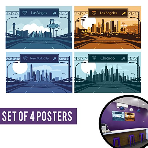 City Prints Cool Posters. Cool Gift for him or present for her. Set of 4 11x17 Girl Bedroom Wall Art, Garage Interior, Green, Blue and Orange Decor.