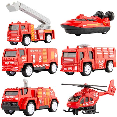 - TGRCM-CZ Toy Car Alloy Pull Back Mini Cars,6 PCS Fire Engine Trucks Fashion Fire Trucks Models Toy Cars for Toddlers Boys Girls Kids