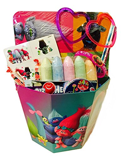 [Trolls Dreamworks Poppy, Branch, and Friends Easter Basket Gift Bundle Pack Reuseable Lunch kit candy tattoo chalk bracelet goofy string and magic] (Homemade Cow Costumes Halloween)