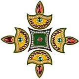 Beautiful Re-Usable Peacock Pattern Stone Studded Acrylic Rangoli (28.5 x 0.5 cm)