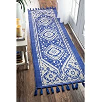 nuLOOM Flatweave Tribal Diamond Dragon Cotton Tassel Blue Runner Rug (26 x 12)