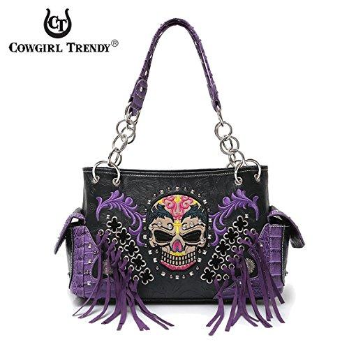 Western Handbag Biker Skull Whipstitch Fringed Concealed Carry Satchel Shoulder Bag - Biker Handbags