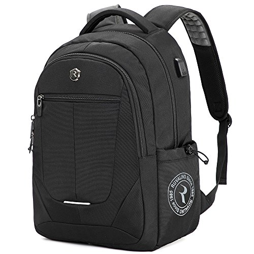 Dikaslon Laptop Backpack, Large Business Laptop Bag with USB Charging Port, Water Resistant College School Back Pack Travel Computer Bag Fits up to 15.6 Inch Laptop and Notebook (Black) (Best Swiss Boarding Schools)