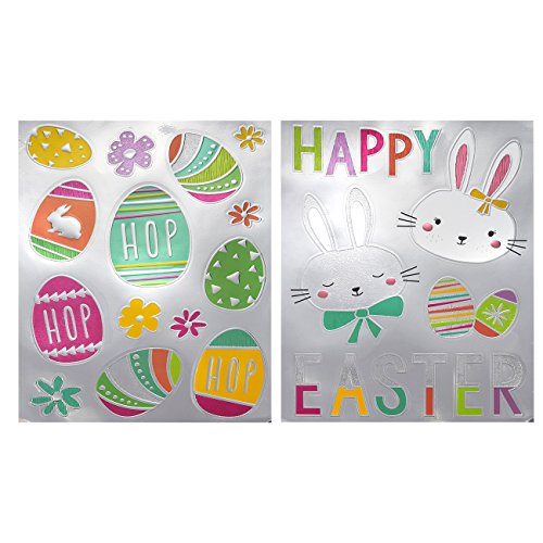Easter Stickers - 2 Pack of Holiday Stickers for Kids with Easter Eggs, Flower and Rabbit Decorations, Total of 24 Easter Party Decorations, 11.25 x 15.5 Inches