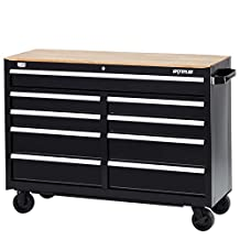 """Waterloo Industries R3W-529B W300 Series 9-Drawer Mobile Workbench with Butcher Block Work Surface, 52"""""""