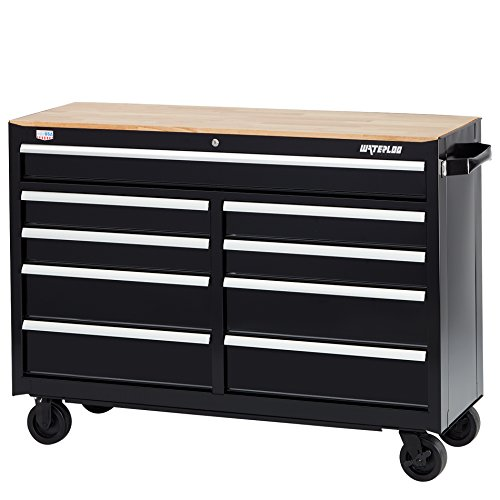 Waterloo W300 Series 9-Drawer Mobile Workbench with Butcher Block Work Surface, (Mobile Workbench)