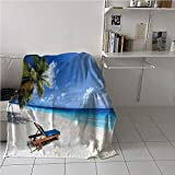 WilliamsDecor Seaside Convenience Blanket,Tropical Beach Chair Sand Palm Trees Sunny Summer Exotic Travel