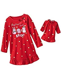 "Girl's ""Meowy & Bright"" Dot Nightgown with Matching Doll Nightgown"