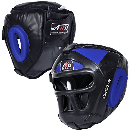 ARD Leather Art MMA Boxing Protector Head Guard UFC Wrestling Helmet Head Gear (Blue, Large)