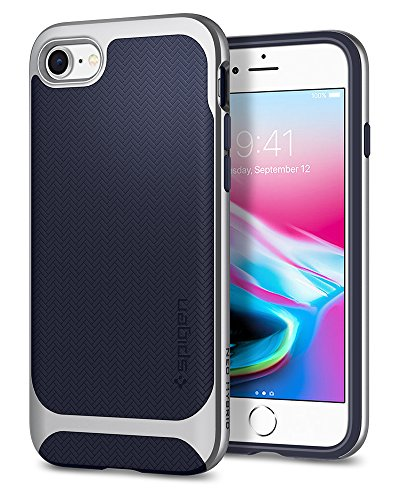 Spigen Neo Hybrid Herringbone iPhone 8 Case/iPhone 7 Case with Flexible Inner Protection and Reinforced Hard Bumper Frame for Apple iPhone 8 (2017) / iPhone 7 (2016) - Satin Silver