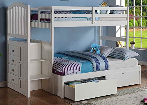 Donco Kids Twin Over Full Stairway Bunkbed with Full (Twin Over Full Stairway)