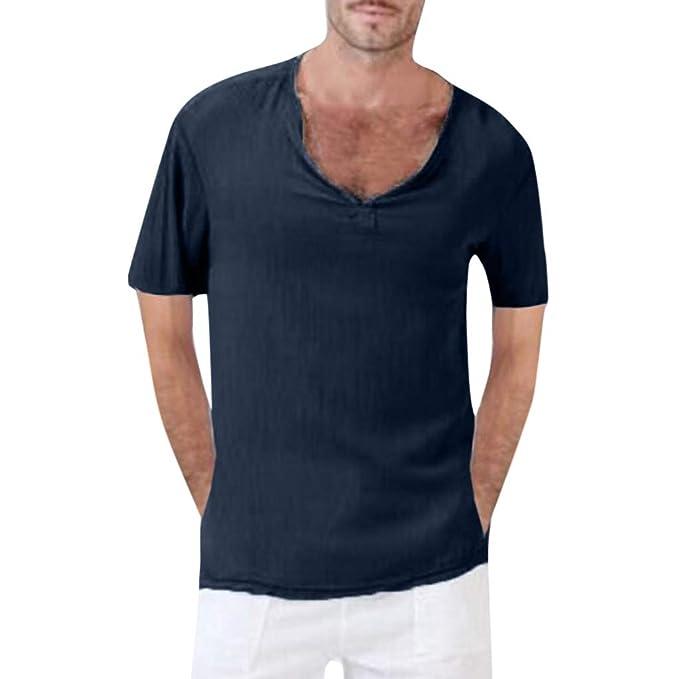 SHJIRsei Hombre Camisetas Verano Deportivo Camisetas Baggy Cotton Linen Color sólido Manga Corta Blusa Retro Tops Cuello en V de Camisetas: Amazon.es: Ropa ...