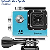 WIFI Action Camera, 4k Action Camera with Wifi 30M Waterproof Sports Camera and 2.4G Remote Contral / Rechargeable Batteries/ 170 Degree Wide Angle- Package including All Accessories Kits - Blue