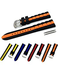 22mm Two-tone Black and Orange Hypo-Allergenic Mens Silicone Rubber Watch Band Diver Sport Strap