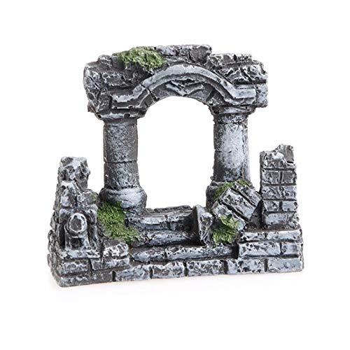 VietGT Aquarium Decoraiton - Resin Aquarium Roman Column Decoration Aquatic Artificial Ancient Ruin Column Ornament Fish Tank Stone Cave Rock Decoration 1 Pcs