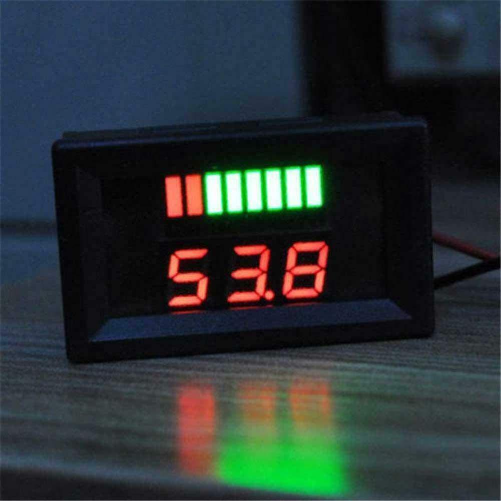 Blu ARCELI Car Marine Moto LED Voltmetro Digitale Voltmetro Indicatore di Livello Batteria 12V-60V