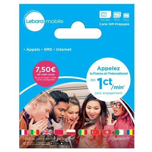 Lebara - SIM Card - French Number Incl EUR 7,50 Call Credit ...