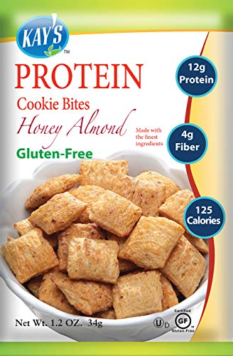 Kay's Naturals Protein Cookie Bites, Honey Almond, Gluten-Free, Low Carbs, Low Fat, Diabetes Friendly All Natural Flavorings, 1.2 Ounce (Pack of 6) ()