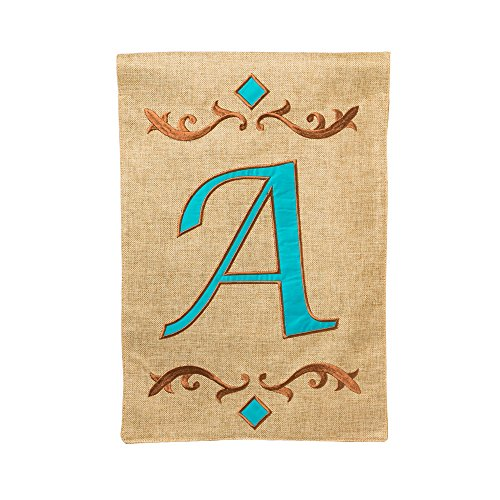 Evergreen Burlap Teal A Monogram Garden Flag, 12.5 by 18 inches
