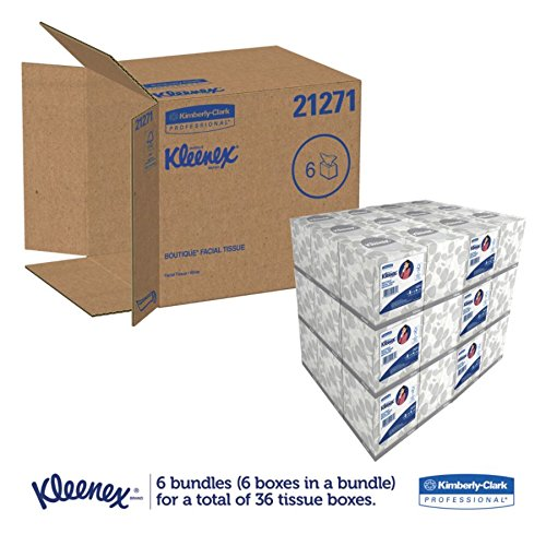 "Kimberly-Clark 21271 Kleenex Boutique Facial Tissue Mouchoirs, 8.4"" Length x 8"" Width, White, 6 Boxes of 95 sheets (Pack of 570)"