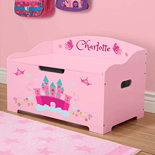 DIBSIES Personalization Station Personalized Modern Expressions Toy Box (Pink with Princess Castle)
