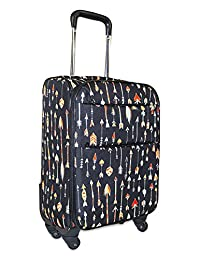 Ever Moda 360 Spinner Luggage Carry On, Black with Arrows