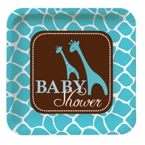 Creative Converting Baby Shower Wild Safari Blue 8 Count Paper Dinner Plates ()