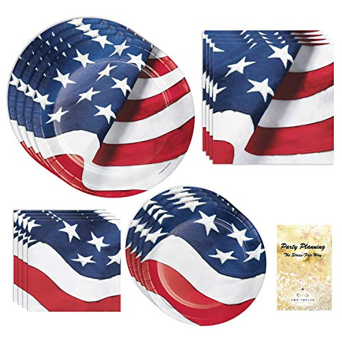 Patriotic Party Supplies, American Flag Design, 16 Guests, Paper Bundle of 4 Items: Dinner Plates, Dessert Plates, Lunch Napkins and Beverage -