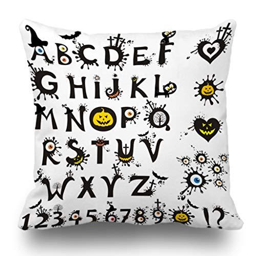 Batmerry Halloween Pillow Covers 18x18 inch, Scary Halloween Theme Font Treat Alphabet Trick Cartoon Gothic Throw Pillows Covers Sofa Cushion Cover Pillowcase ()