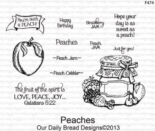 (Our Daily Bread Peaches Cling Unmounted Rubber Stamp (F474))