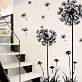 Laimeng, Black Creative PVC Dandelion Flower Plant Tree Large Removable Home Wall Decal