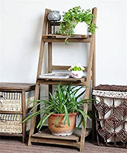LLDHUAJIA LIANGLIANG Madera Maciza Plegable Estante de Flor Simple Pastoral Trapezoidal Flower Rack Planta de pie Balcón Salón (Color : A, Tamaño : 420 * 1060MM)