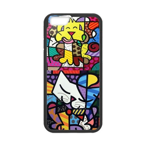 Fayruz- Personalized Protective Hard Textured Rubber Coated Cell Phone Case Cover Compatible with iPhone 6 & iPhone 6S - Romero Britto Cartoon F-i5G982