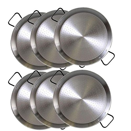 Paella Pan Steel 9.5 inch (24cm) SET OF 6 . Great for parties or individual servings! Made in Spain by Vaello