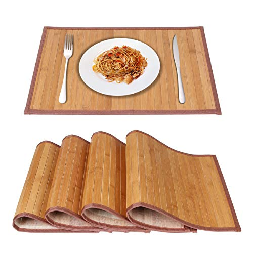 Placemats for Dining Table,Marscool Placemats Set of 4,Natural Bamboo Weave Placemats for Kitchen Table,Heat-Resistant Placemats Table Mats Set of ()