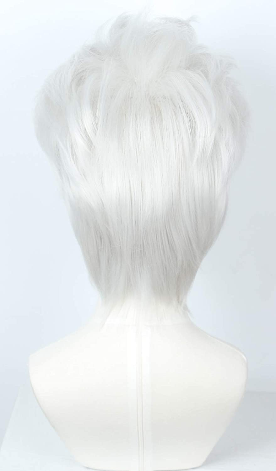 Linfairy Short Layered Cosplay Wig Halloween Costume Silvery White Wig Not Style