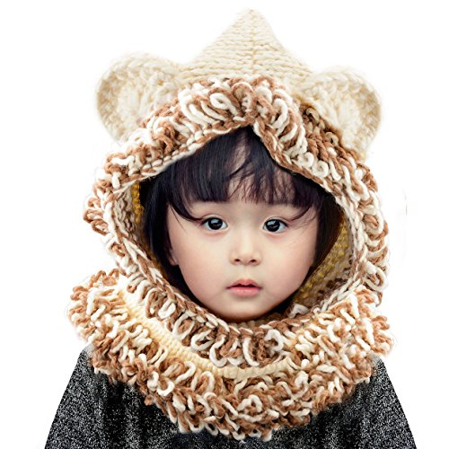 Jhua Baby Kids Warm Winter Hat Crochet Knitted Caps Hood Scarves Beanies