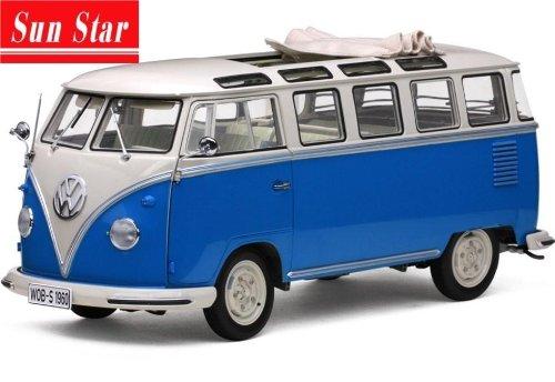 1/12 1960年 フォルクスワーゲン ミニバス Samba(ホワイト/ライトブルー) 5074