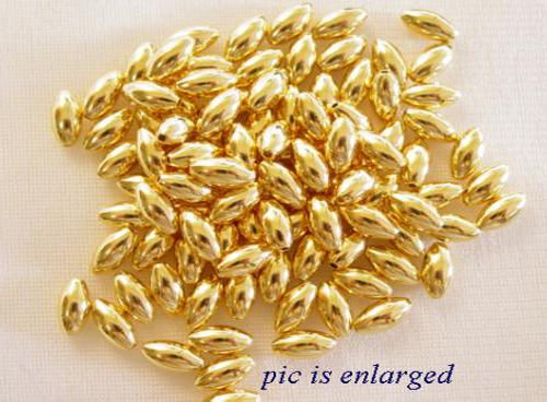 Bead Necklace Projects - 50 Gold Smooth Oval Rice Beads for Jewelry Making, Supply for DIY Beading Projects