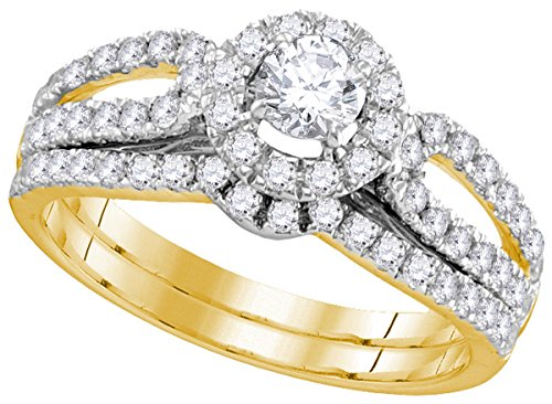 Jewels By Lux 14kt Yellow Gold Womens Round Diamond Halo Split-shank Bridal Wedding Engagement Ring Band Set 1.00 Cttw (Certified) (SI3 clarity; G-H - Setting 14kt Shank Yellow Gold